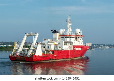 New Bedford, Massachusetts, USA - July 30, 2019: Geotechnical survey vessel Fugro Discovery  returning to New Bedford from work off Rhode Island coast