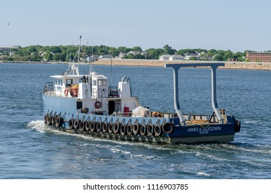 New Bedford, Massachusetts, USA - June 12, 2018: R/V James K Goodwin, hailing port Boston, Massachusetts, leaving New Bedford outfitted with new A frame for greater towing capacity