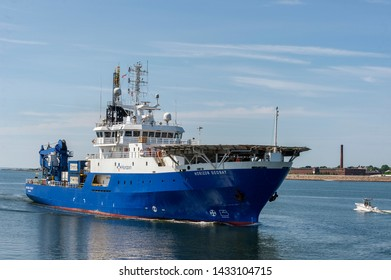 New Bedford, Massachusetts, USA - June 24, 2019: Geotechnical drilling vessel Horizon Geobay sporting helicopter landing pad on foredeck