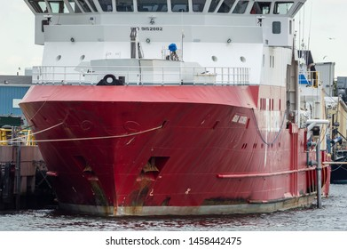 New Bedford, Massachusetts, USA - June 6, 2019: Hull of geotechnical survey vessel Fugro Discovery docked at Marine Commerce Terminal in New Bedford