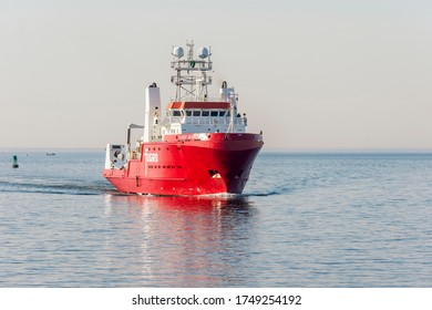New Bedford, Massachusetts, USA - June 4, 2020: Offshore survey vessel Fugro Searcher heading into New Bedford after working off Block Island