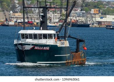 New Bedford, Massachusetts, USA - May 8, 2019: Scalloper Bella Rose, hailing port Bass Harbor, Maine, heading out to sea
