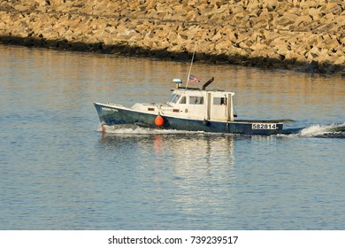 New Bedford, Massachusetts, USA - October 21, 2017: Fishing boat Honi-Do leaving New Bedford harbor