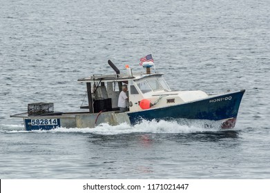 New Bedford, Massachusetts, USA - September 3, 2018: Lobster boat Honi-Do returning to New Bedford
