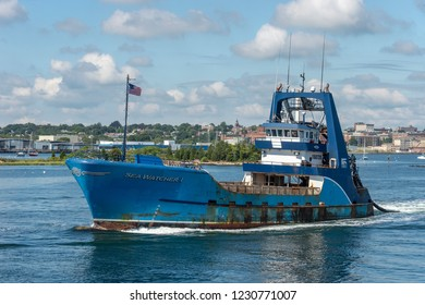 New Bedford, Massachusetts, USA - September 15, 2018: Clammer Sea Watcher I leaving New Bedford