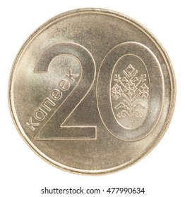 New Belarus coins 20 cents isolated on white background