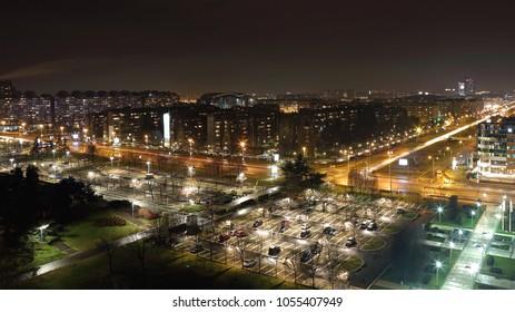 New Belgrade Serbia at Night Aerial Shot