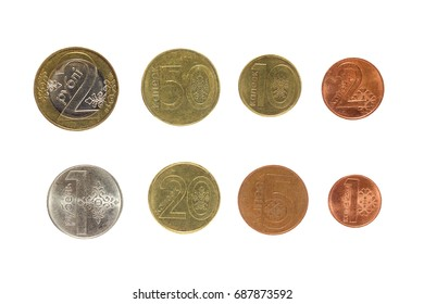New belorussian coins isolated on white background. Top view of money. Belorus money (rubles).