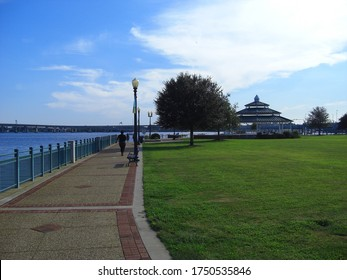 New Bern, NC / USA - September 21, 2014: Riverwalk at Union Point Park in downtown New Bern. This park borders Neuse and Trent rivers.
