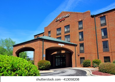 New Bern, North Carolina - April 25, 2016:  Entrance to the Courtyard by Marriott Hotel on East Front Street