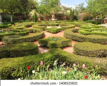 NEW BERN, NORTH CAROLINA, USA - APRIL 19, 2018: Walled gardens at Tryon Palace. Colonial American History