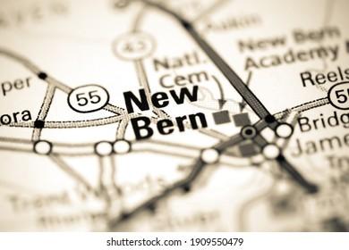 New Bern. North Carolina. USA on a map
