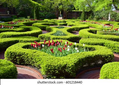 NEW BERN, USA, APR 2016: The Beautiful Formal Latham Garden At Tryon Palace