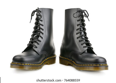 New black boots for army and travel isolated on white background
