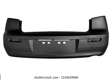 New black car bumper on a white background