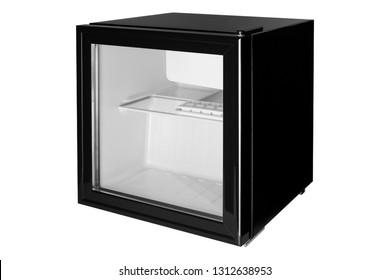 New black refrigerator, mini bvr with closed glass door, for hotel, side view, refrigerator empty, isolate on a white background