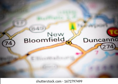 New Bloomfield. Pennsylvania. USA on a geography map