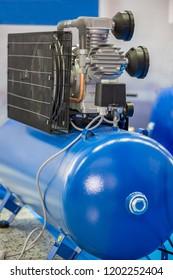 New, blue air compressor