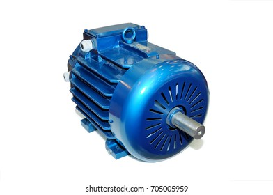 New blue electric motor isolated on white background.