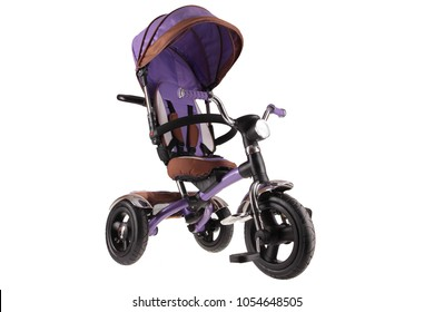 new blue modern child tricycle stroller with roof isolated on white background
