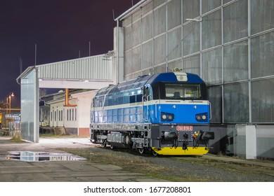 New blue modern diesel freight locomotive in Nymburk, Czech Republic