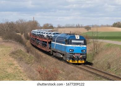New blue modern diesel freight locomotive in Vsejany, Czech Republic