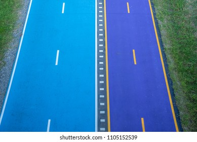 new blue and purple bicycle lane in Bangkok Thailand