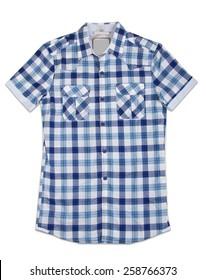 New blue stripes mens shirt. T-shirt Isolated on white