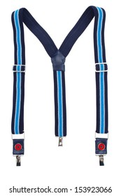 New blue suspenders isolated on white background