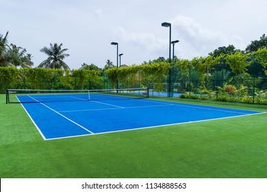 New blue tennis field, sport concept background.