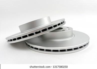 New brake discs isolated on white background