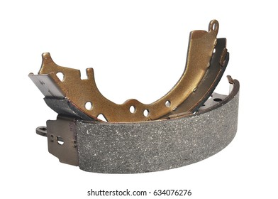 New brake pad drum brake, isolated on a white background