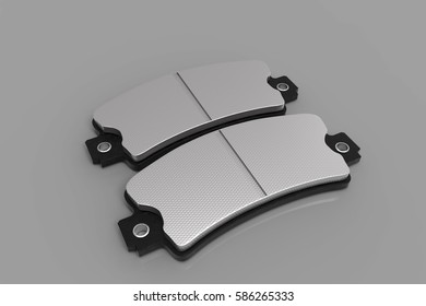 New brake pads disk brake, isolated on a white background. Car parts. 3D rendering.