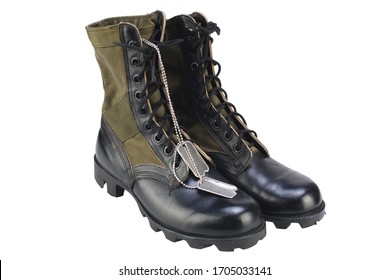 New brand US army pattern jungle boots with dog tags isolated on white background