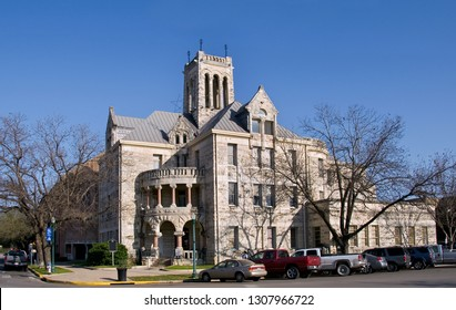 New Braunfels, Texas / USA - March 19 2008: Comal County Courthouse with deep blue skies.