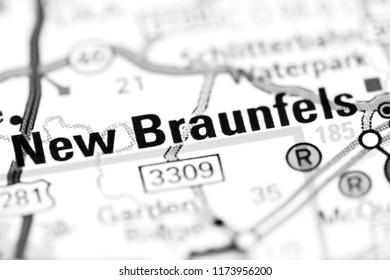 New Braunfels. Texas. USA on a map