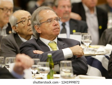 New brazilian minister of economy Paulo Guedes during a meeting with businessmen in Rio de Janeiro, Brazil on August 06, 2018