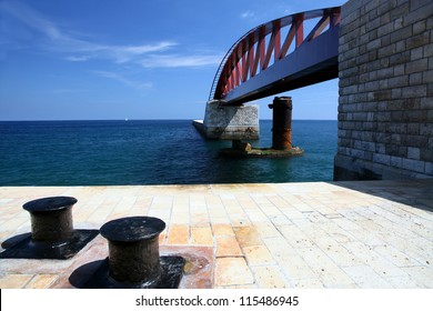 The new Breakwater bridge, at the entrance to Grand Harbour, Malta