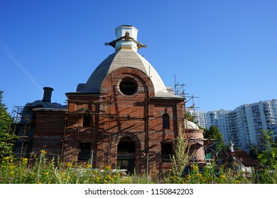 New brick church near Bitsevsky park in Moscow, Russia