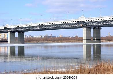New bridge across the river Irtish. Omsk. Russia.