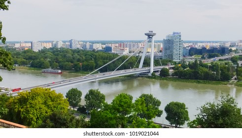 New bridge in Bratislava, Slovakia, with UFO observation deck