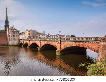 New Bridge, built 1878, and the River Ayr in Ayr, South Ayrshire, Scotland.