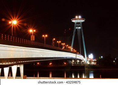 New Bridge over Danube River in Bratislava, Slovakia, at Night.