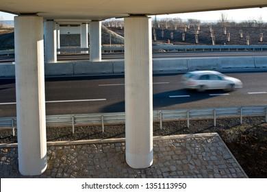 A  new bridge over highway.