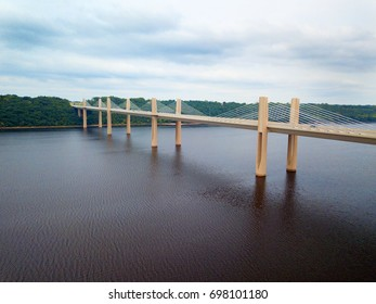 New bridge spanning the border of Wisconsin and Minnesota over the St. Croix River.