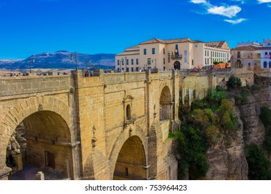 New bridge. View of the New Bridge in the city of Ronda, province of the city of Malaga. Andalusia, Spain. Photo taken – 13 n ovember 2017.
