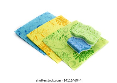New, bright, contemporary cleaning rags and washcloths on a white background close-up