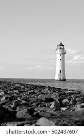 New Brighton lighthouse, Liverpool, United Kingdom. {Black and white photo)