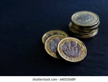 New British Sterling One Pound Coin (£1 GBP) UK, a design to be introduced in March 2017. The standard currency unit of the United Kingdom.