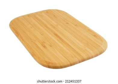 New brown bamboo cutting board isolated on white background